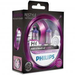 philips colorvision fialova h4 12v 6055w 12342cvpps2 2ksbalenie